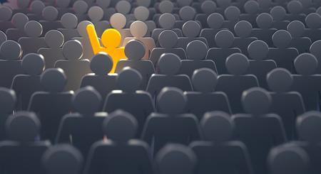 Distinguiti dalla folla e diversi concetti di idee creative, uomo in piedi fuori dalla folla - rendering 3d
