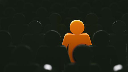 Stand out from the crowd and different creative idea concepts, man standing out of crowd - 3d rendering Stock Photo