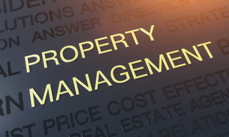 Real Estate and Property Management tag cloud Background concept - 3d rendering