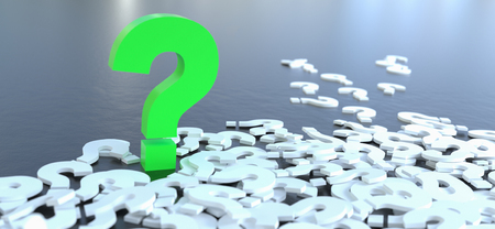 colored question mark background concept. 3D Rendering.