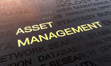 Asset Management Background, Word Cloud Concept In Black And Gold