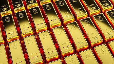 Gold bar close up shot. wealth business success concept Stock Photo