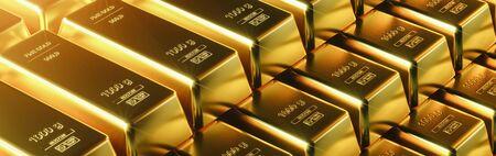 Barre d'or gros plan. concept de réussite commerciale de richesse
