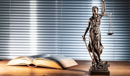 Statue of lady justice on bright background - Side view with copy space. Reklamní fotografie