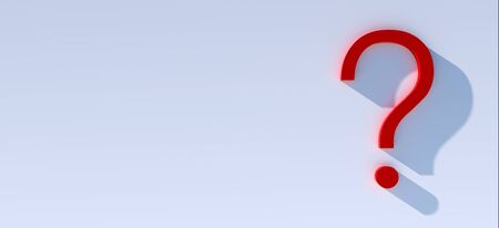 question mark in front of a red color wall background. Business support concept - 3D Rendering.