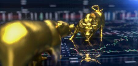 Wallstreet bull and bear on stock chart background. Stock exchange concept Foto de archivo