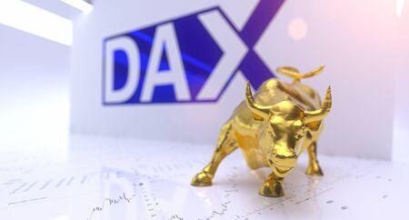 Wallstreet bull and bear on stock chart background. Bullish Stock exchange concept
