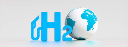 Blue Hydrogen filling H2 Gas Pump station icon isolated on background - H2 energy concept