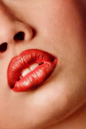 close-up portrait of beautiful woman lips photo