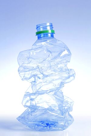 Water bottle crushed and isolated