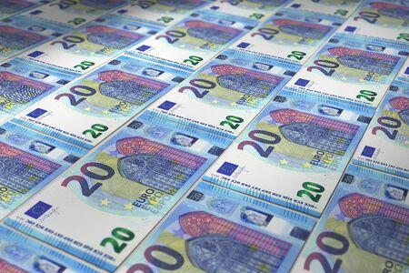 Surface of fake euro banknotes