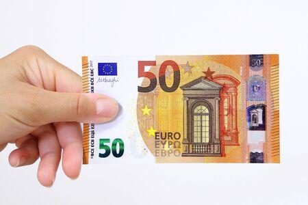 Hand holding a euro bank note 版權商用圖片