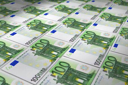 Syrface of euros banknotes close-up