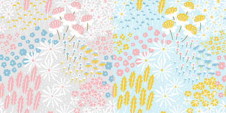 Refreshing floral meadow repeat pattern suitable for wallpaper, giftwrap, stationary, home decor