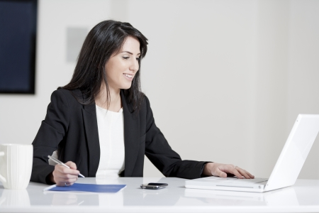 Young woman working at her desk in the office Stock Photo - 14015617