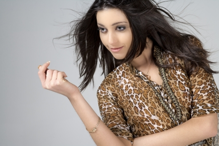 fashion model in animal print dress Stock Photo - 14325546