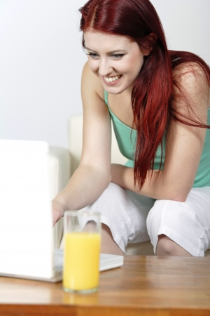 Happy smiling woman chatting with friends on a laptop at home on the sofa Stock Photo - 14425308