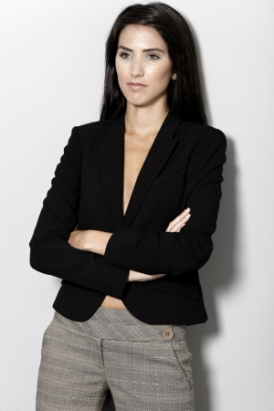 Professional working woman in corporate business suit