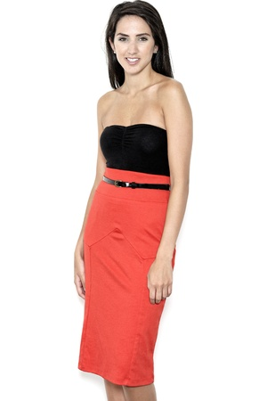 pencil skirt: Beautiful sexy young woman in red pencil skirt Stock Photo