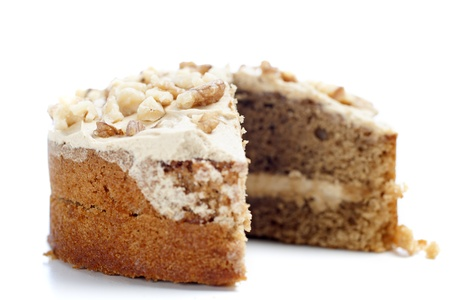 Sliced coffee cake ready for serving Stock Photo
