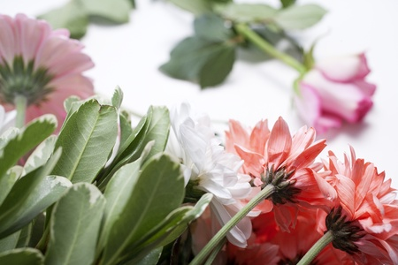 Flower cuttings being prepared to be arranged to make a bouquet. Stock Photo - 15572119