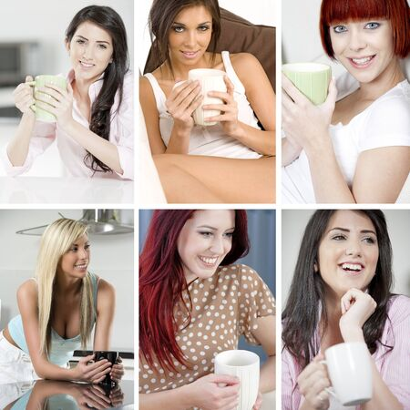 lunchbreak: Compilation of beautiful young woman relaxing and taking a coffee break