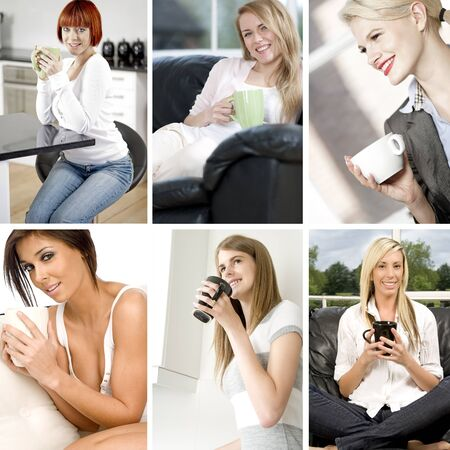 Compilation of beautiful young woman relaxing and taking a coffee break Stock Photo - 15720388