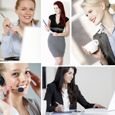 Compilation of young beautiful professional working women in the office and at home Stock Photo - 15720386
