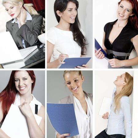 Compilation of young beautiful professional working women in the office and at home Stock Photo - 15720379