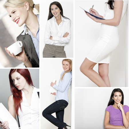 Compilation of young beautiful professional working women in the office and at home Stock Photo - 15720381