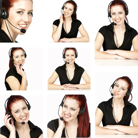 compilation: Compilation of beautiful young women wearing telephone headsets in a busy office or call center