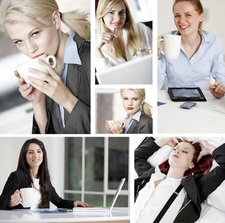 Compilation of people taking a break from work and enjoying a drink Stock Photo - 15720391