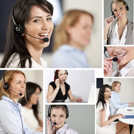 answering call: Compilation of beautiful young woman wearing telephone headsets in a busy office Stock Photo