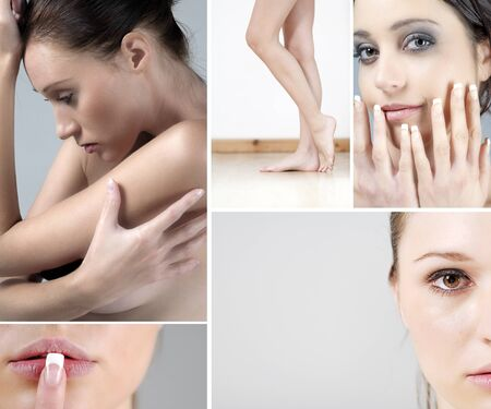 compilation: Compilation of beautiful young women in beauty style pose Stock Photo