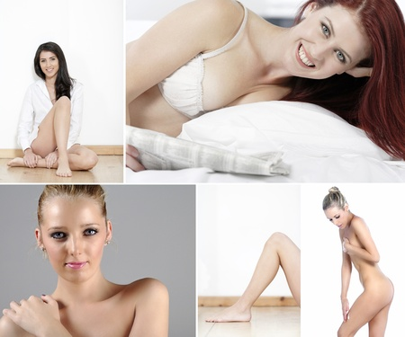 sexual selection: Compilation of beautiful young women in beauty style pose Stock Photo