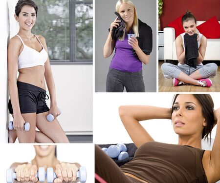 Compilation of beautiful young woman exercising and fitness training photo