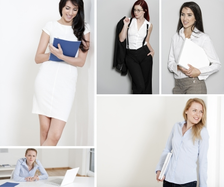 Compilation of young beautiful professional working woman in the office and at home Stock Photo - 15720382