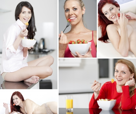 Compilation of beautiful young women in a healthy lifestyle photo