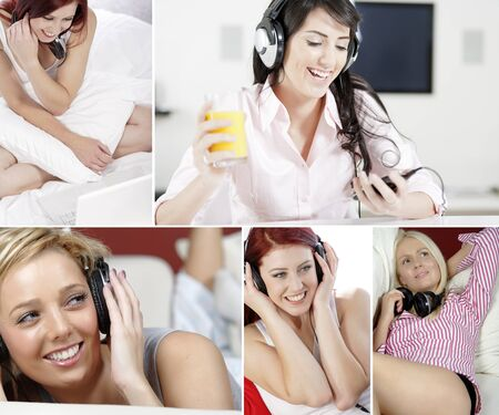 Compilation of beautiful young women in a healthy lifestyle women listening to music on their headphones at home Stock Photo - 15720399