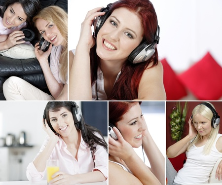 compilation: Compilation of beautiful young women in a healthy lifestyle women listening to music on their headphones at home Stock Photo