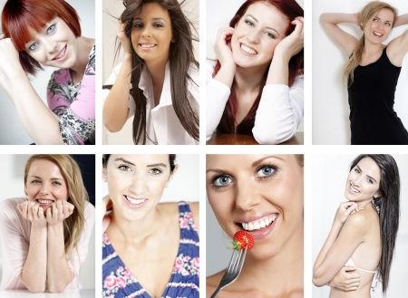 Compilation of beautiful smiling women expressing happiness