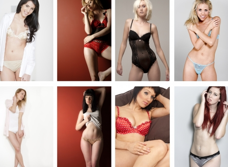 knickers: Compilation of attractive young woman in underwear