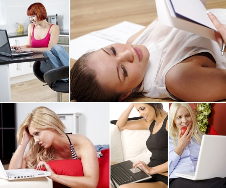 Compilation of attractive young women working from home photo