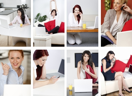 home office: Compilation of attractive young women working from home