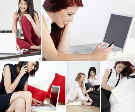 Compilation of attractive young women working from home Stock Photo - 15720395