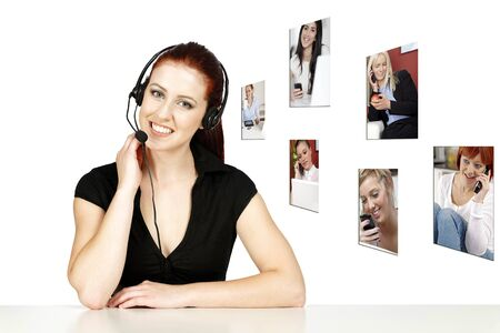 Professional woman talking on a headset in her office at work, displaying a concept of her customers photo