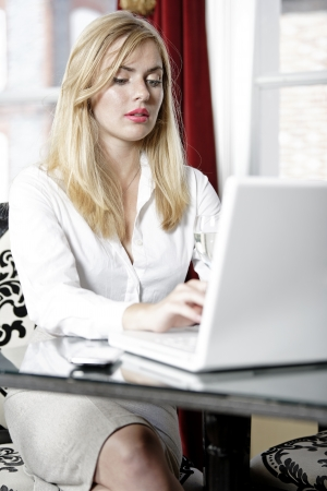 Attractive woman working on her laptop catching up after a long day  Stock Photo - 18000791
