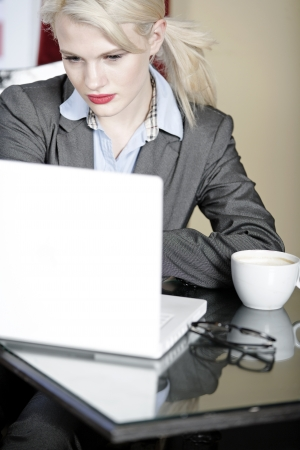 Attractive woman working on her laptop catching up after a long day. Stock Photo - 16217691