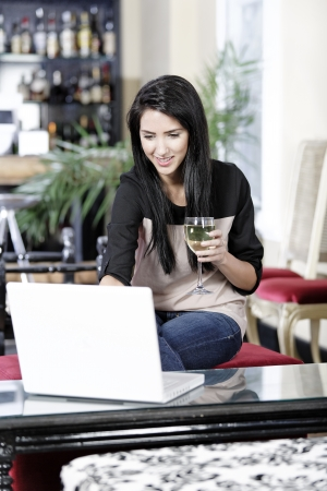 Beautiful young woman chatting with friends on her laptop while enjoying a glass of wine in a bar Stock Photo - 16217666