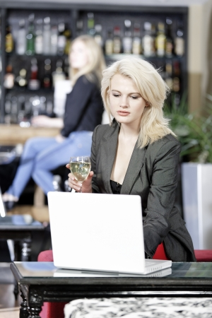 Beautiful young woman chatting with friends on her laptop while enjoying a glass of wine in a bar Stock Photo - 16217686